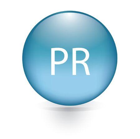 pr: pr word blue button  Illustration