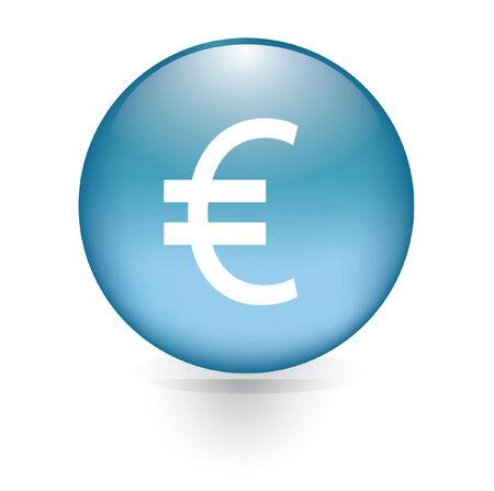 euro teken: Euro teken blauwe knop Stock Illustratie
