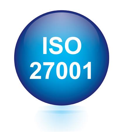 ISO 27001 blue button  Vector