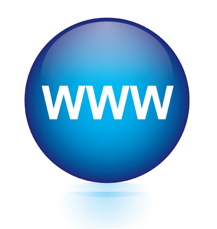 www blue circular button  Illustration