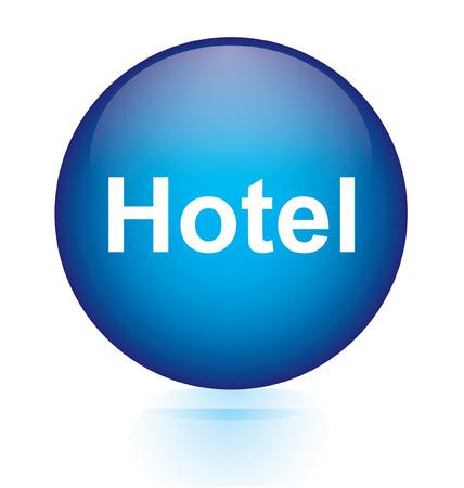 Hotel blue circular button  Vector