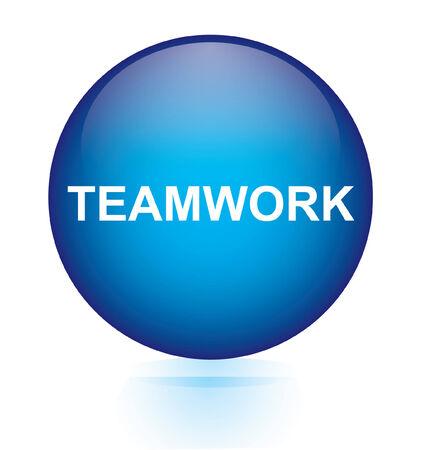 depend: Teamwork blue circular button