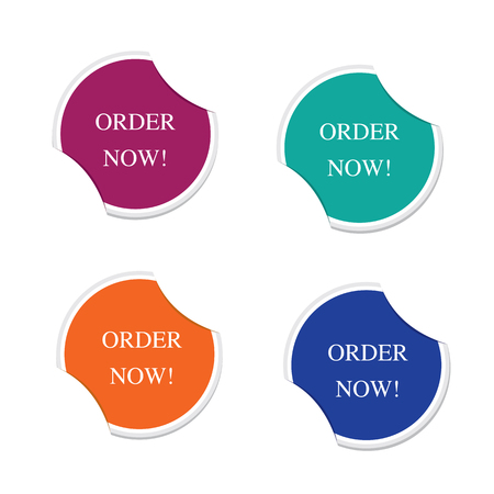 Order now sign icon Special offer label. Round stickers  Vector