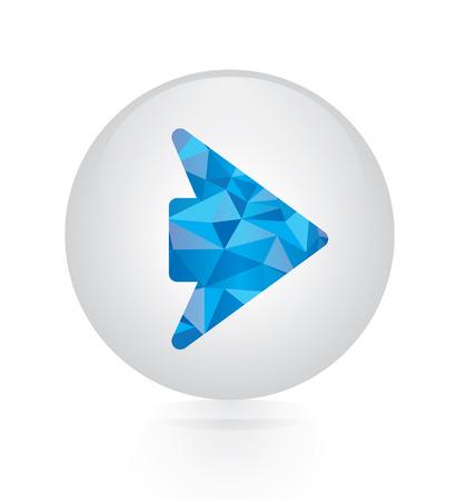 arrow right icon: Vector - abstract blue arrow right icon. circular button Illustration
