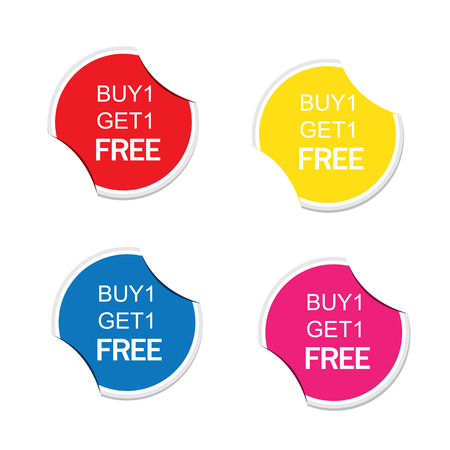 grand sale button: Buy 1 Get 1 Free icon. Special offer label. Round stickers