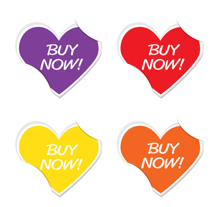 Buy Now sign icon valentine heart stickers. Vector