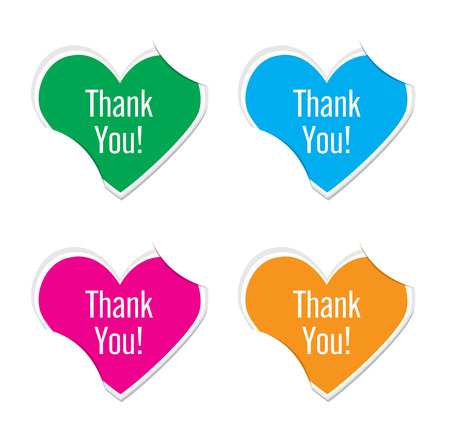 thank you icon valentine heart stickers. Vector