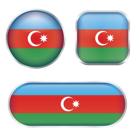 glossy buttons: Set di Azerbaigian bandiera pulsanti lucidi Vettoriali