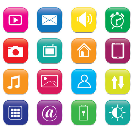 chat window: Set of colorful mobile phone icons