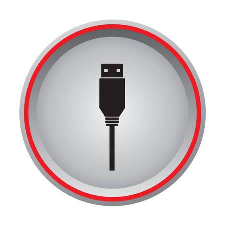 usb flash drive icon circular button