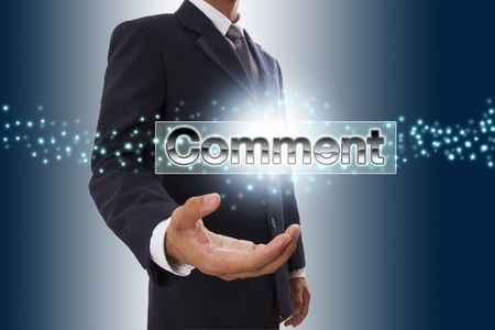 Businessman hand showing content button on virtual screen. photo