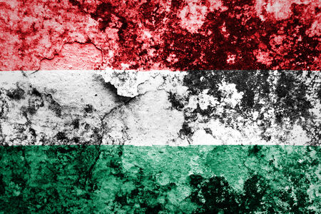 Hungary flag painted on grunge wall photo