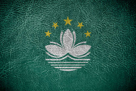 macau: Macau Flag on leather texture