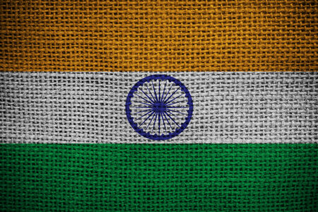 red indian: Texture of sackcloth with the image of the India flag