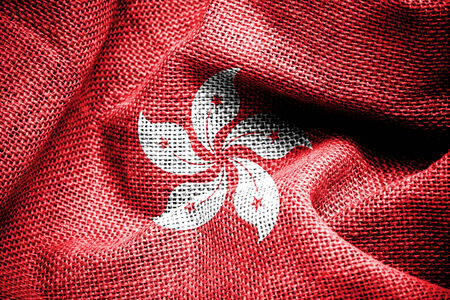 sackcloth: Texture of sackcloth with the image of the Hong Kong flag