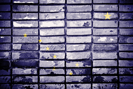 Alaska State Flag painted on old brick wall photo