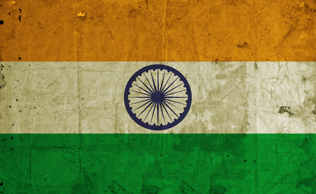 indische muster: Grunge India Flag auf altem Papier