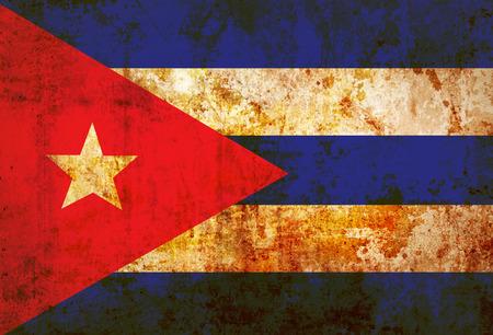 bandera cuba: Bandera de Cuba el papel de la vendimia Foto de archivo
