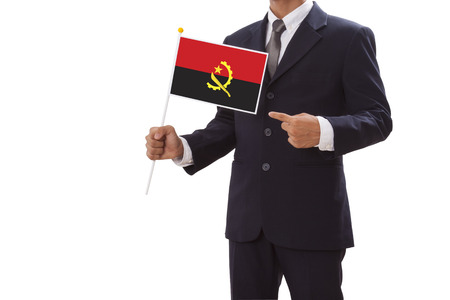 angola: Businessman in suit holding Angola Flag