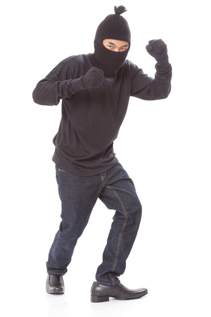 Man wearing mask on over white background photo