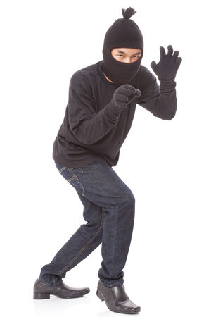 Man wearing mask on over white background Stock Photo