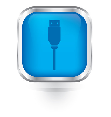 flash drive: Vector usb flash drive icon glossy button Illustration