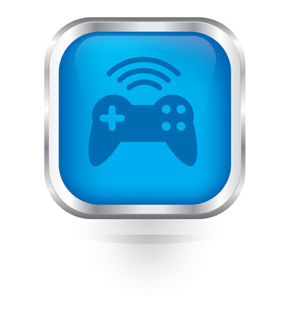 game pad: Vector game pad wireless icon glossy button Illustration