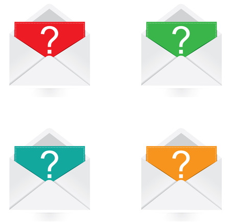 e survey: Vector - Set of colorful note with question mark