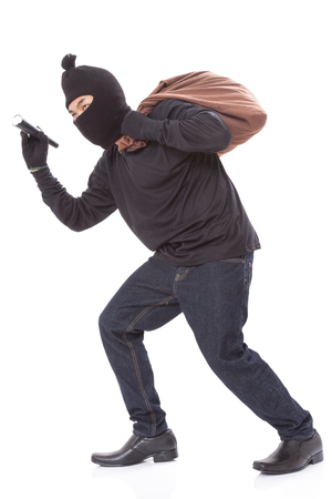 ruffian: Thief with bag and holding flashlight, isolated on white background