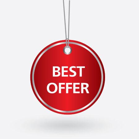 selling off: red oval best offer tag. vector illustration Illustration