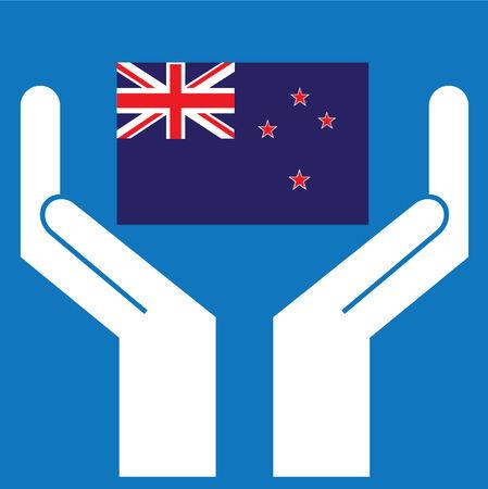 new zealand flag: Mostrando mano Bandiera della Nuova Zelanda. Illustrazione vettoriale.