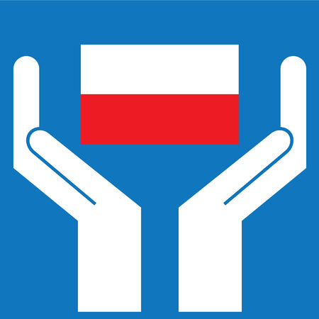 poland flag: Hand showing Poland Flag. Vector illustration.