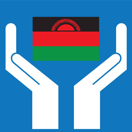malawi flag: Hand showing Malawi Flag. Vector illustration.