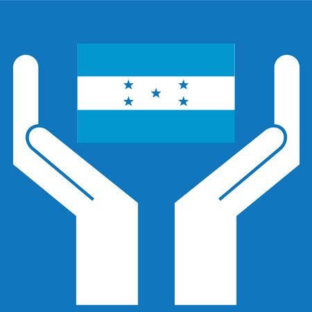 bandera honduras: Mano que muestra la bandera de Honduras. Ilustraci�n del vector. Vectores