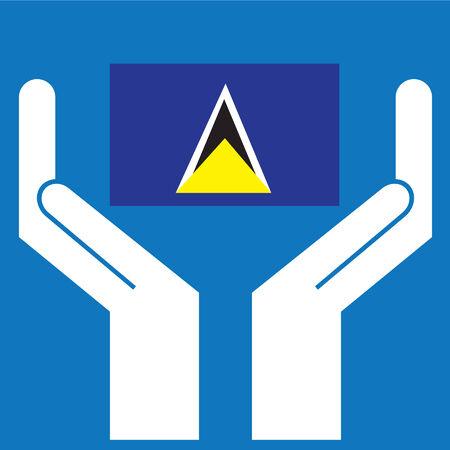 lucia: Hand showing Saint Lucia Flag. Vector illustration