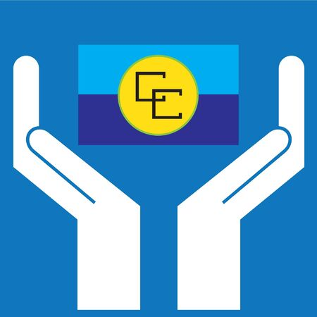 correctly: Hand showing Caribbean Community (CARICOM) Flag. Vector illustration Illustration