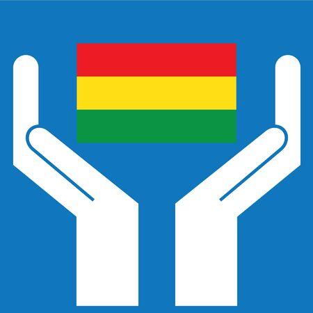 bandera de bolivia: Mano que muestra la bandera de Bolivia. Ilustraci�n del vector.