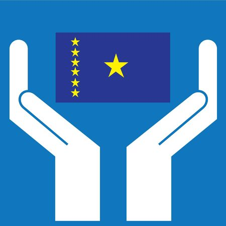 democratic: Hand showing Democratic Republic of Congo Flag. Vector illustration