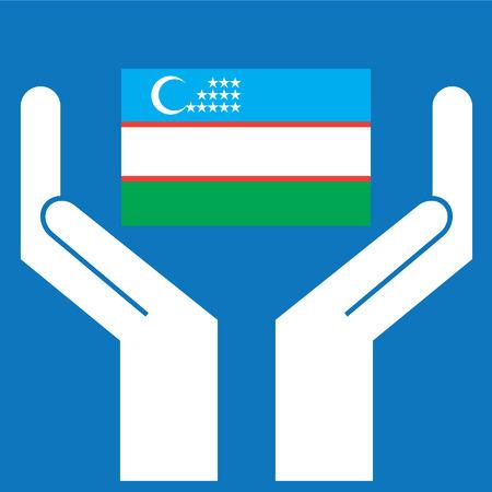oezbekistan: Hand showing Uzbekistan Flag. Vector illustration Stock Illustratie