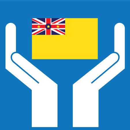 niue: Hand showing Niue Flag. Vector illustration