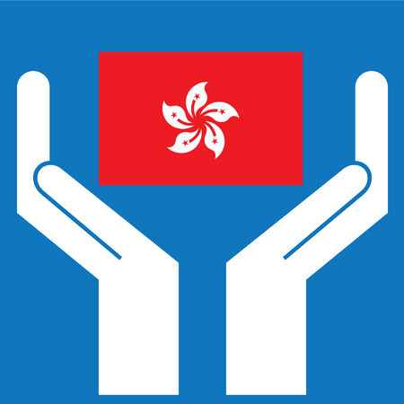 Hand showing Hong Kong Flag. Vector illustration.
