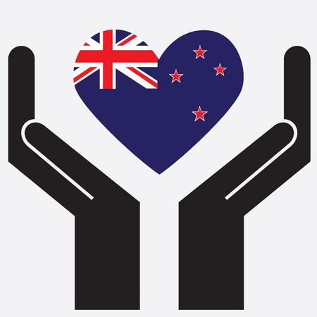 new zealand flag: Mano che mostra la Nuova Zelanda bandiera a forma di cuore. Illustrazione vettoriale.
