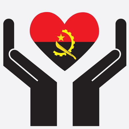 angola: Hand showing Angola flag in a heart shape. Vector illustration.