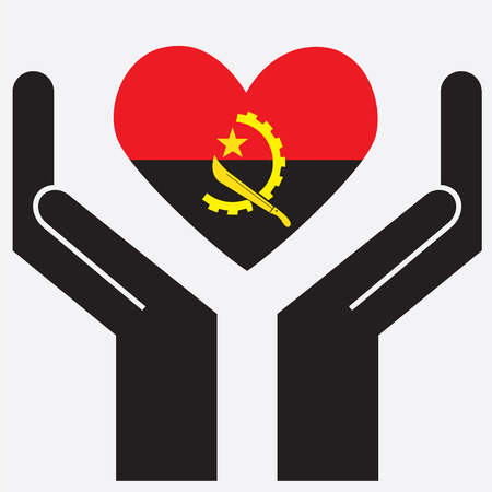 Hand showing Angola flag in a heart shape. Vector illustration.