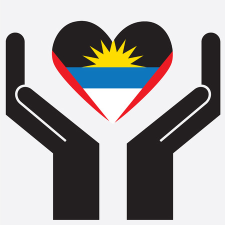 barbuda: Hand showing Antigua and Barbuda flag in a heart shape. Vector illustration. Illustration