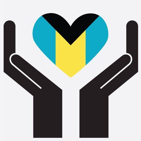 bahamas: Hand showing Bahamas flag in a heart shape. Vector illustration.