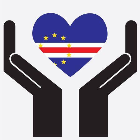 verde: Hand showing Cape Verde flag in a heart shape. Vector illustration. Illustration
