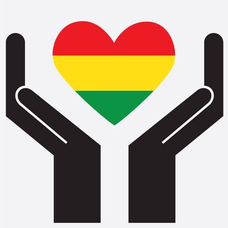 bandera de bolivia: Mano que muestra la bandera de Bolivia en forma de coraz�n. Ilustraci�n del vector.
