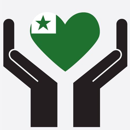 compatible: Hand showing Esperanto flag in a heart shape. Vector illustration.