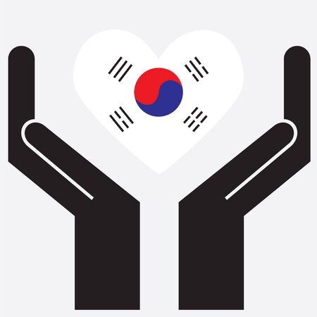 Hand showing South Korea flag in a heart shape. Vector illustration. Vector